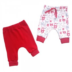 Baby Wear - Baby Wear Ayıcık Baskılı 2'li Tek Alt - Kırmızı