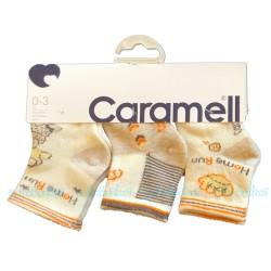 Caramell - Caramell 3'lü Desenli Bebek Çorabı - ( Krem )