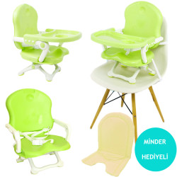 Evokids - Evokids Portatif Yükseltici Mama Sandalyesi (Yeşil) Minder Hediyeli