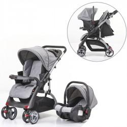 Mom & Kids - Mom & Kids Çift Yönlü Travel Sistem Bebek Arabası - Gri