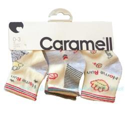 Caramell - Caramell 3'lü Desenli Bebek Çorabı - ( Gri )