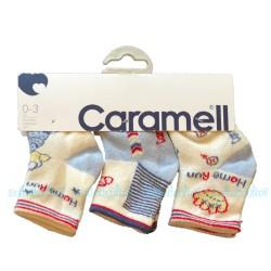 Caramell - Caramell 3'lü Desenli Bebek Çorabı - ( Mavi )