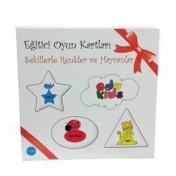 Edukids - Edukids Şekillerle Renkler ve Hayvanlar Eğitici Oyun Kartları