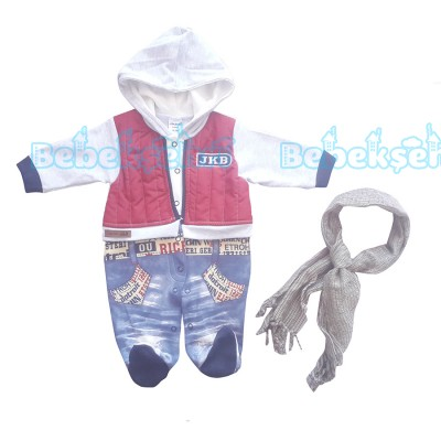Kapşonlu ve Fularlı 2'li Bebek Tulum