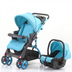 Mom & Kids Çift Yönlü Travel Sistem Bebek Arabası - Mavi - Thumbnail