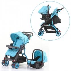 Mom & Kids - Mom & Kids Çift Yönlü Travel Sistem Bebek Arabası - Mavi