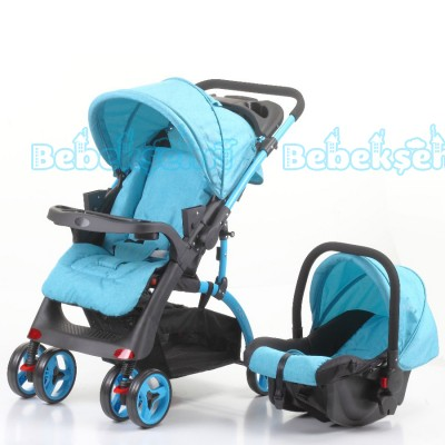 Mom & Kids Çift Yönlü Travel Sistem Bebek Arabası - Mavi