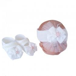 Baby Newborn - Süslemeli Bebek Bere ve Patik Seti - İncili Çiçekli